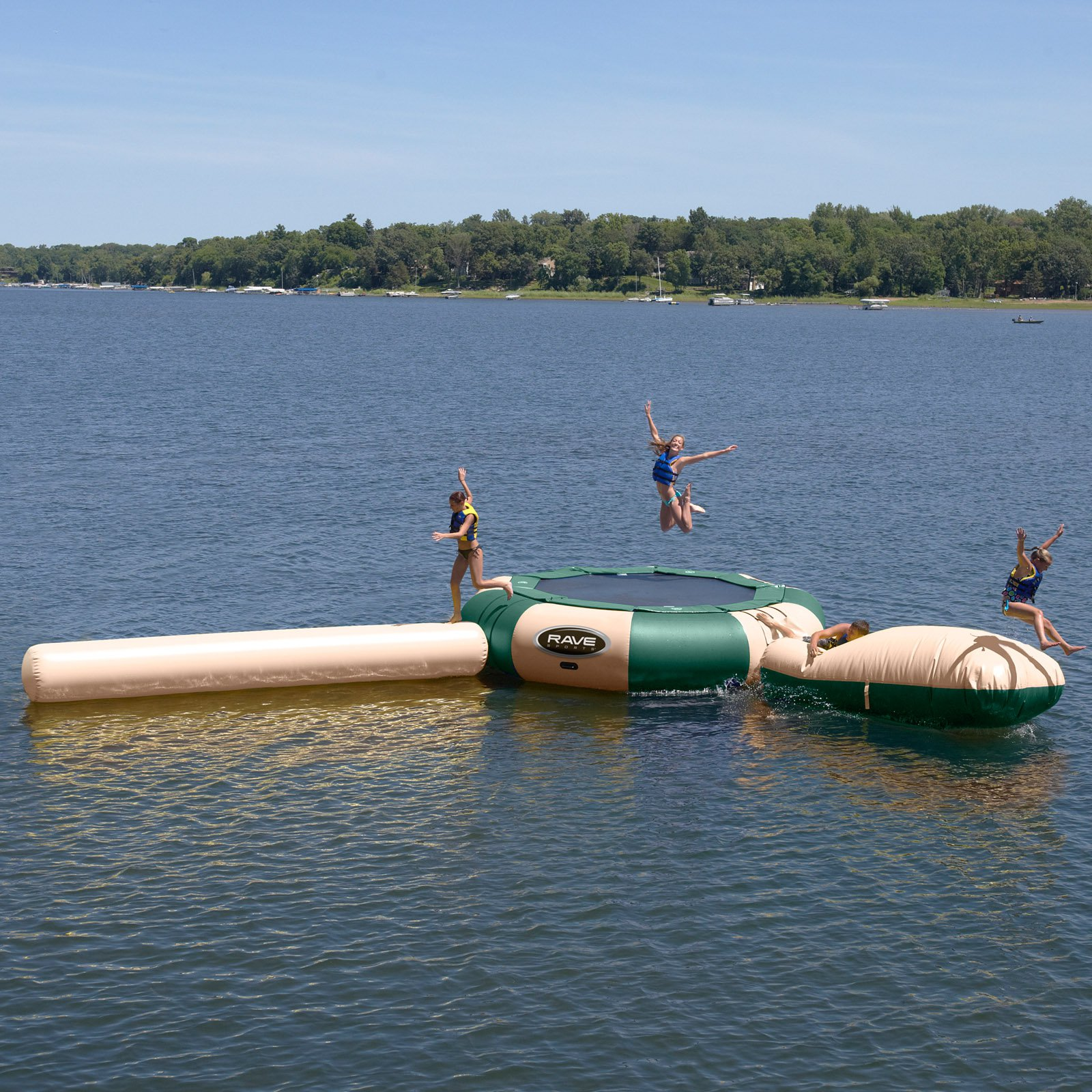RAVE Sports 15 ft. Northwoods Aqua Jump Water Trampoline With Launch and Log Waterpark