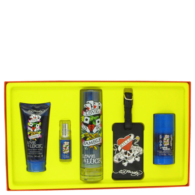 Love & Luck by Christian Audigier - Gift Set -- 3.4 oz Eau De Toilette Spray + 3 oz Hair & Body Wash + 2.75 oz Deodorant Stick + .25 oz Mini EDT Spray + Luggage Tag