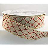 Criss Cross Ribbon - Wire Edged Salad Natural Linen with Red Criss Cross Glitter Lines Christmas Ribbon 1 1/2