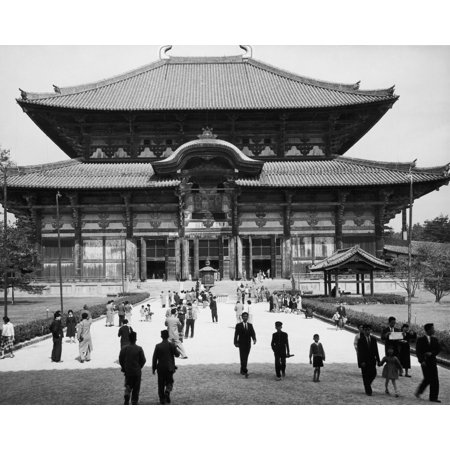 Japan Temple C1965 Nthe Hall Of The Great Buddha At The Todaiji Temple In Nara Japan The Hall Is The Largest Wooden Structure In The World Photograph C1965 Rolled Canvas Art     18 X 24