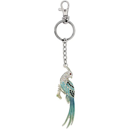 (Multi Color Bird Parrot Key Chain, Key Ring, Key Holder, Key Tag , Key Fob, w/ Clear, Ruby, Peridot & Blue Topaz-Color Swarovski Crystals, 6
