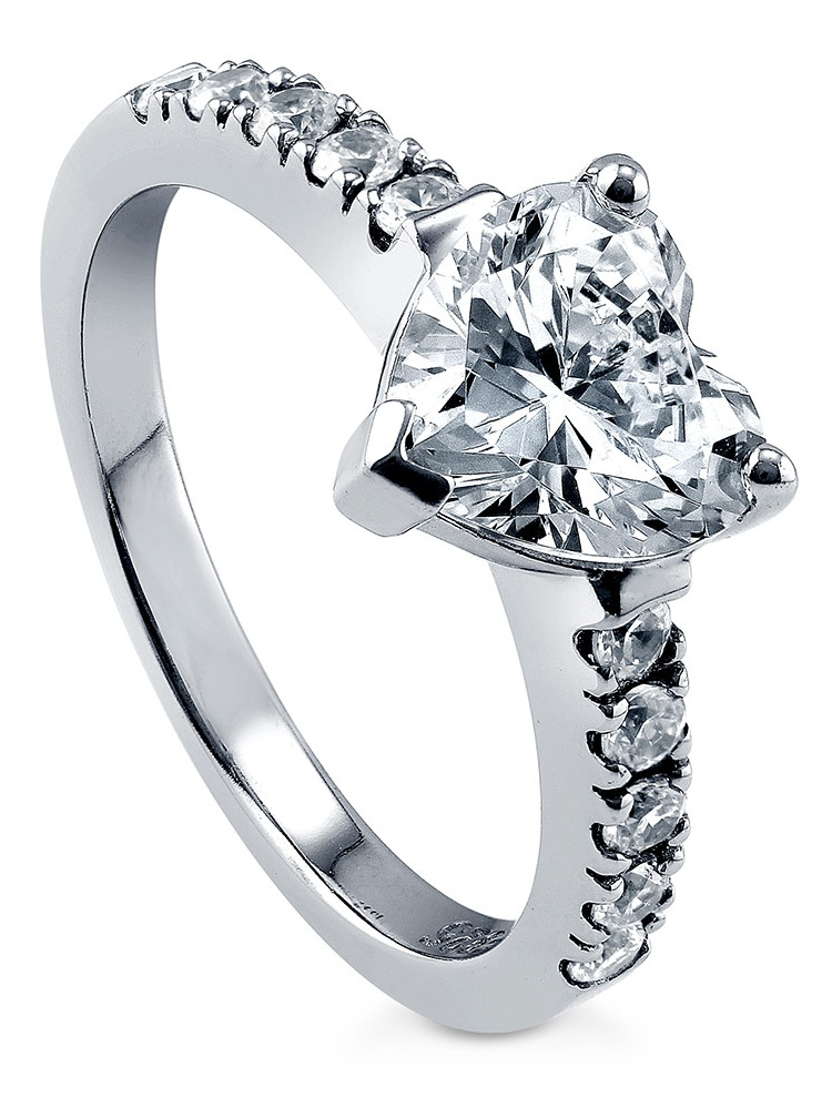 Princess Kylie Round Center Pave Cubic Zirconia Heart Shaped Wedding Ring Rhodium Plated Sterling Silver