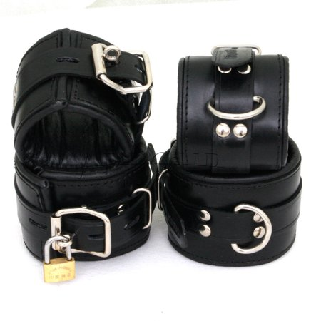Padded Black Real Leather Wrist Ankle Cuffs 4 Pieces Set Restraints Lockable (Real Handcuffs)
