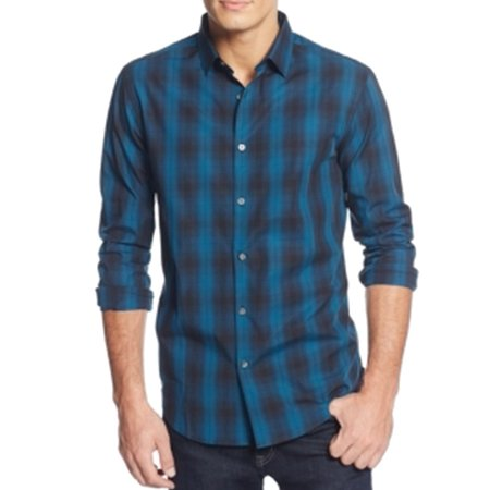Alfani New Blue Black Mens Size 2xl Plaid Print Button