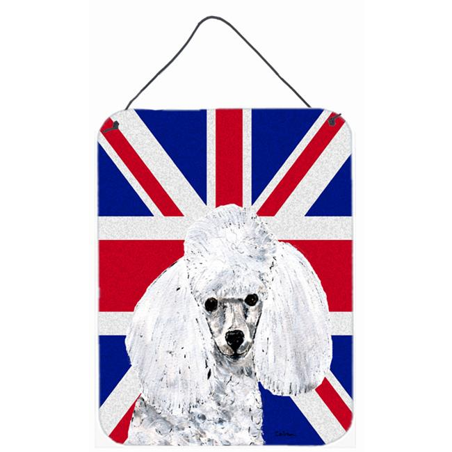 Carolines Treasures SC9886DS1216 White Toy Poodle With English Union Jack British Flag Aluminium Metal Wall Or Door Hanging Prints - image 1 of 1
