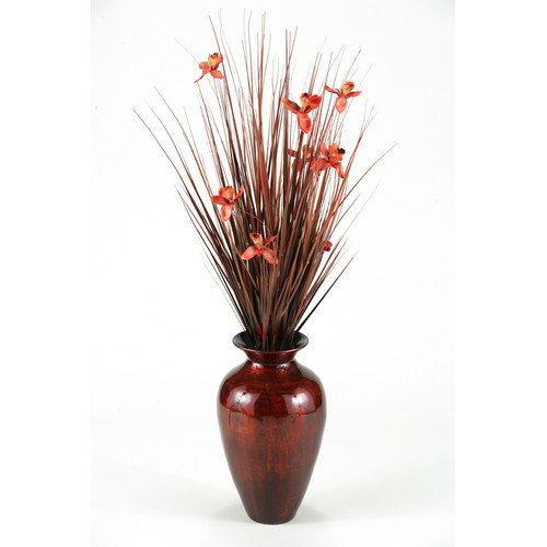 D & W Silks Brown Ting with Burgundy Blossoms in Burnt Copper Spun Bamboo Vase