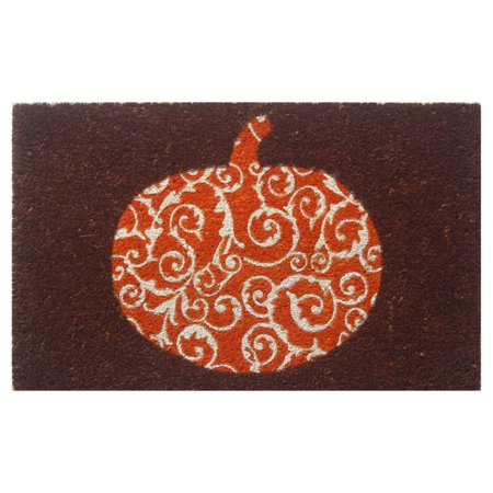 Entryways Scrolled Pumpkin Non Slip Coir Door Mat ()