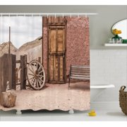 Barn Wood Wagon Wheel Shower Curtain Abandoned Old Farmhouse Doorway Traditional Rustic Outdoors Fabric