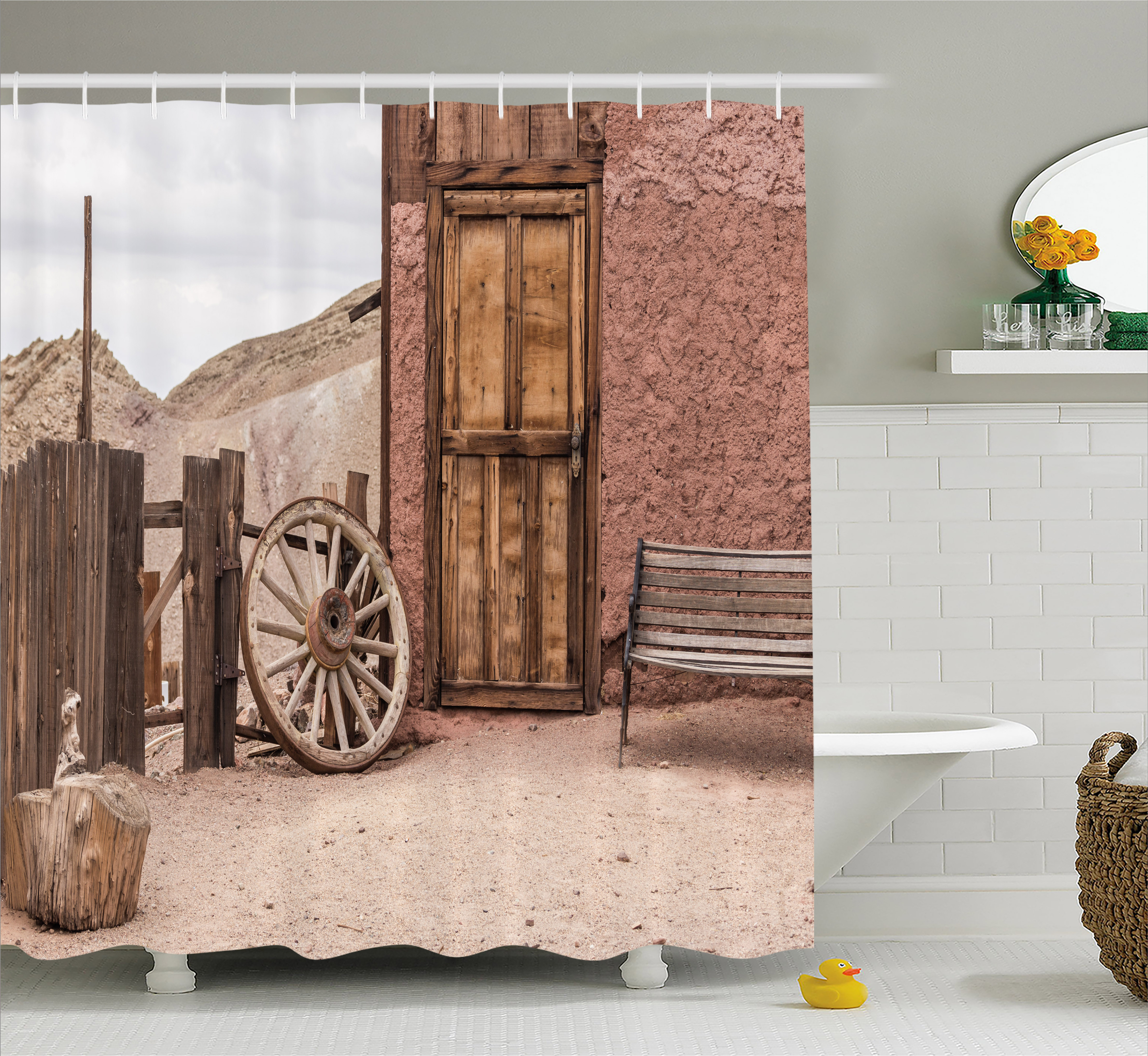 Barn Wood Wagon Wheel Shower Curtain, Abandoned Old Farmhouse Doorway Traditional Rustic Outdoors, Fabric Bathroom Set with Hooks, 69W X 70L Inches, Umber Light Brown, by Ambesonne