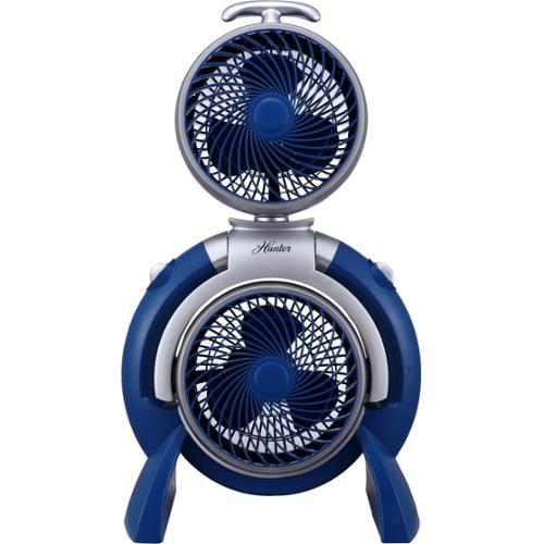 Hunter Fan Dual Fan (FSQQ) - 3 Speed - Pivot, Adjustable, Carrying Handle - Blue