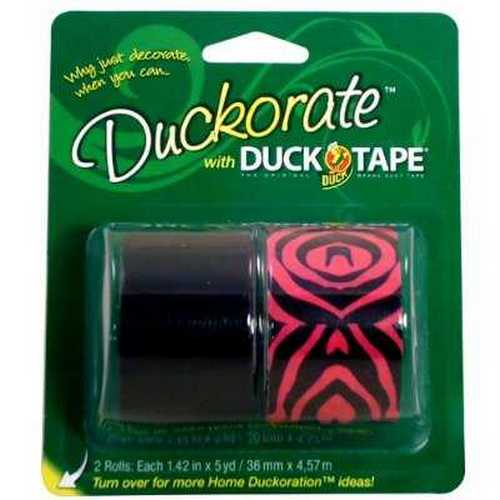 Pink Zebra / Black Duct Tape 2 pack 1.42 in X 5 yd each roll Duck Brand