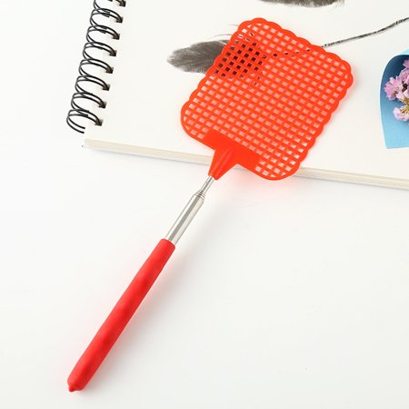 Adjustable Plastic Fly Swatter Home Long Handle Flyswatter Flapper Insect Killer red ()