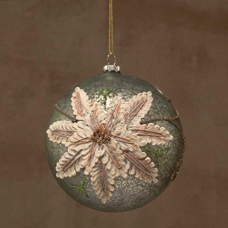 ZiaBella Embossed Poinsettia Ball Ornament