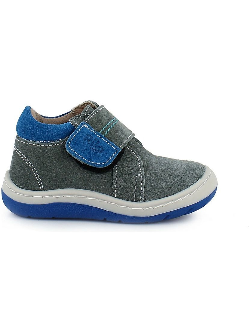 Rilo Boys Gamuza Gris Hook-And-Loop Strap Leather Tennis Shoes