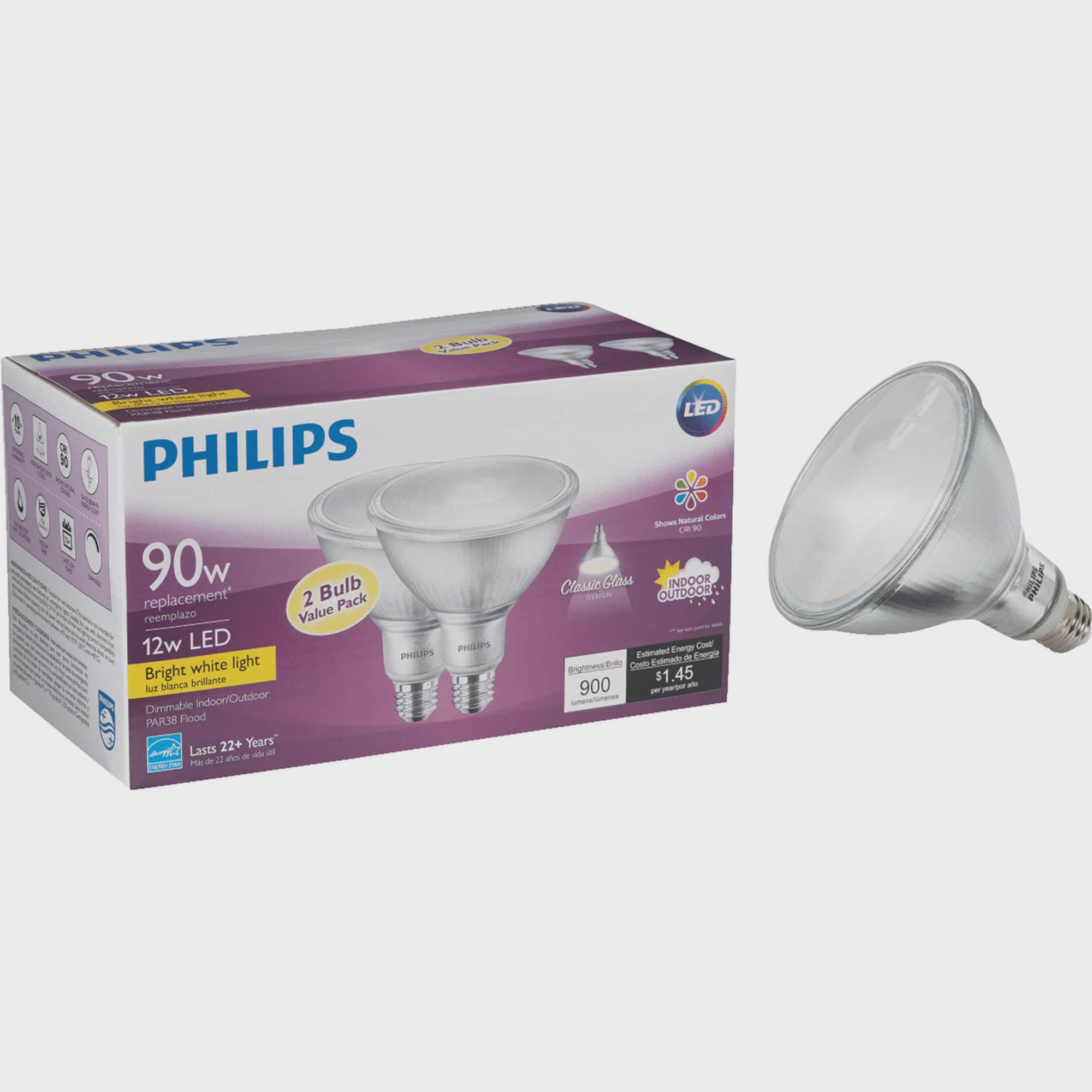 Philips Par38 Medium Indoor Outdoor Led Floodlight Light Bulb Walmart Com Walmart Com