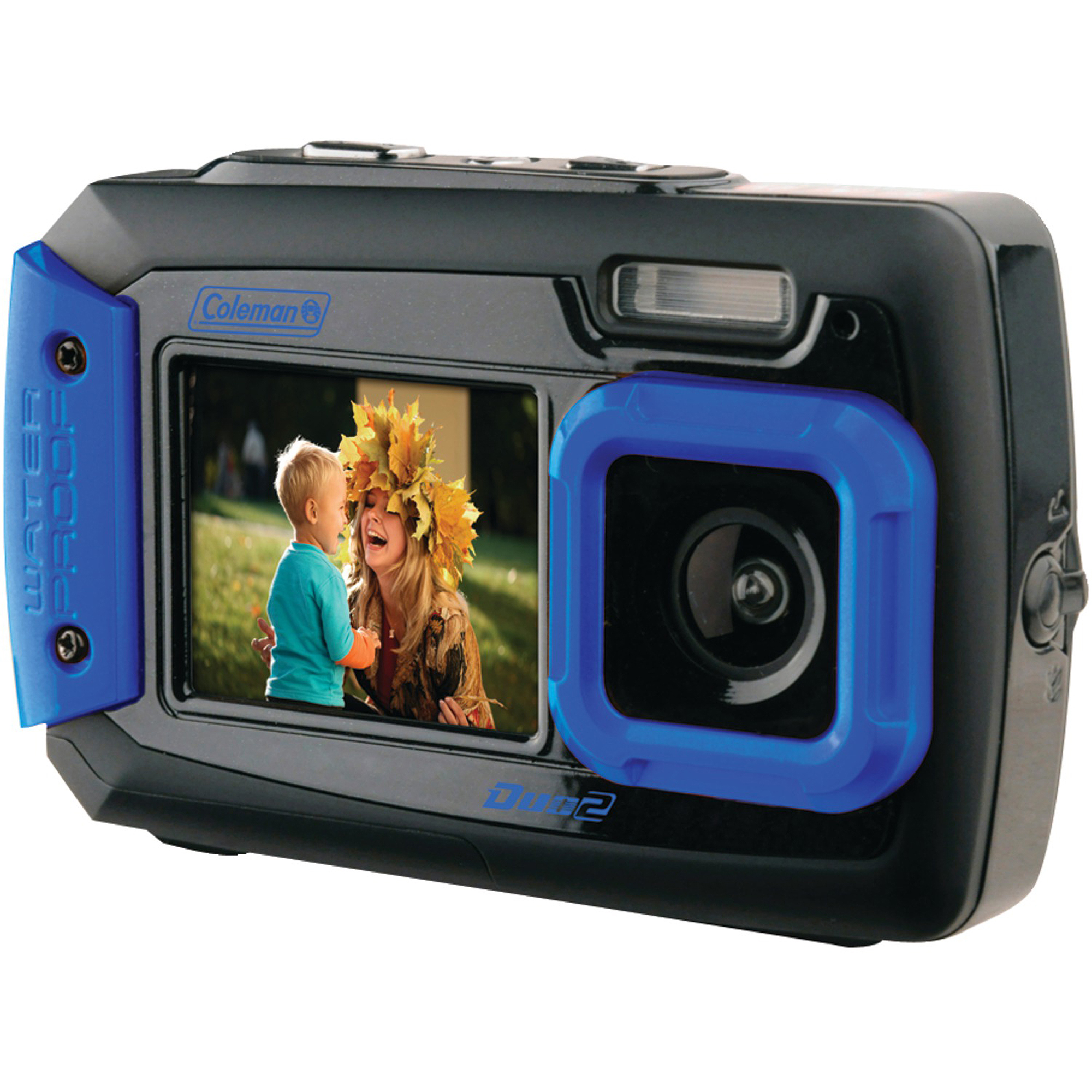 Coleman 2V9WP Duo2 Dual-Screen Waterproof 20MP Digital Camera, Blue