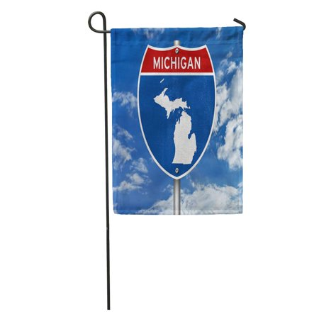 SIDONKU Welcome Michigan Interstate Sign Detroit Lansing Road America Country Highway Garden Flag Decorative Flag House Banner 28x40 inch ()