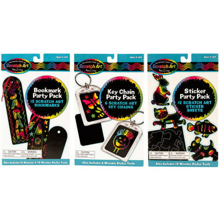 Melissa & Doug Scratch Art Party Pack Bundle, Bookmarks, Stickers, and Key Chains