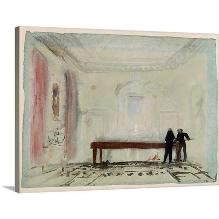 Petworth House (Great BIG Canvas Joseph (1775-1851) Turner Premium Thick-Wrap Canvas entitled Billiard players at Petworth House, 1830 (gouache))