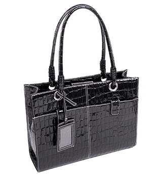 McKleinUSA Elena 11125 Faux Patent Croco Leather Ladies' Business Tote