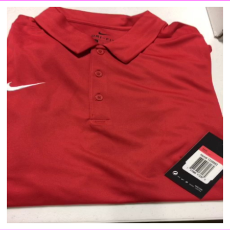 NIKE Men's Short Sleeve Dri Fit Regular 3 Collar Buttons Polo Shirt L/Red 3 Button Polo Collar