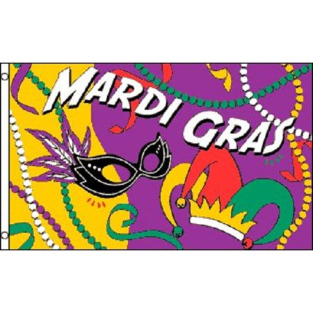 3x5 Mardi Gras Party Flag Fat Tuesday Holiday Decoration Banner Party Pennant for $<!---->