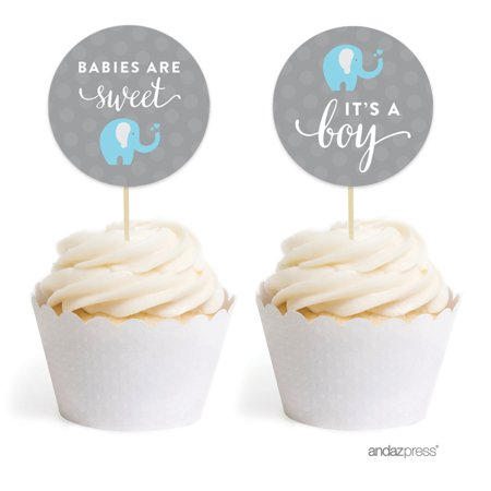 Boy Elephant Baby Shower Cupcake Topper DIY Party Favors Kit, 20-Pack