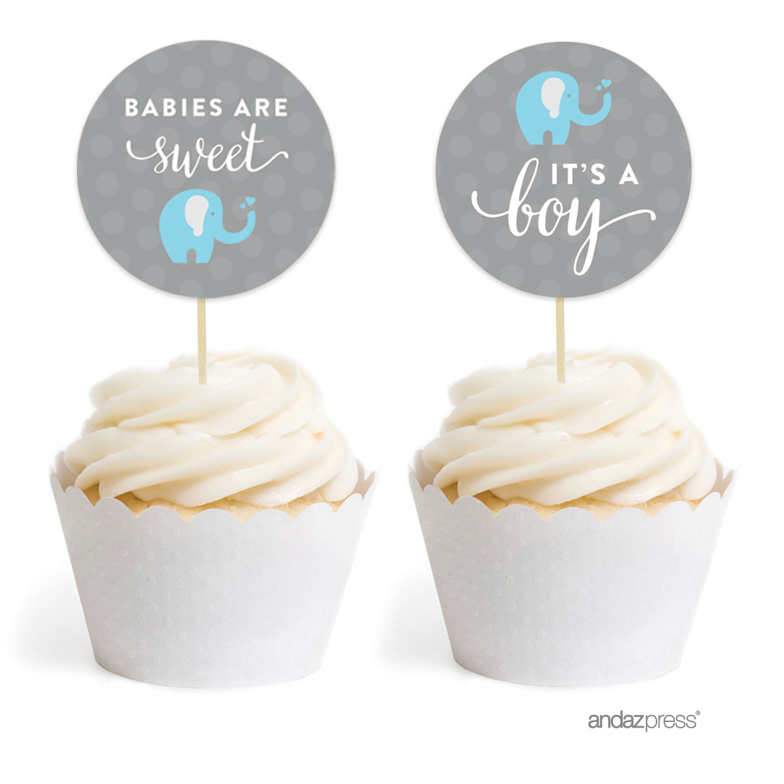 Boy Elephant Baby Shower Cupcake Topper DIY Party Favors Kit, 20 Pack