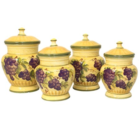 Sonoma Collection Deluxe Hand-Painted 4-Piece Kitchen Canister Set ()