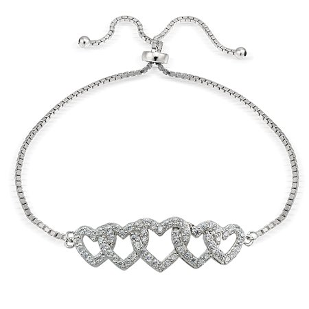 Sterling Silver Cubic Zirconia Intertwining Hearts Adjustable Bracelet