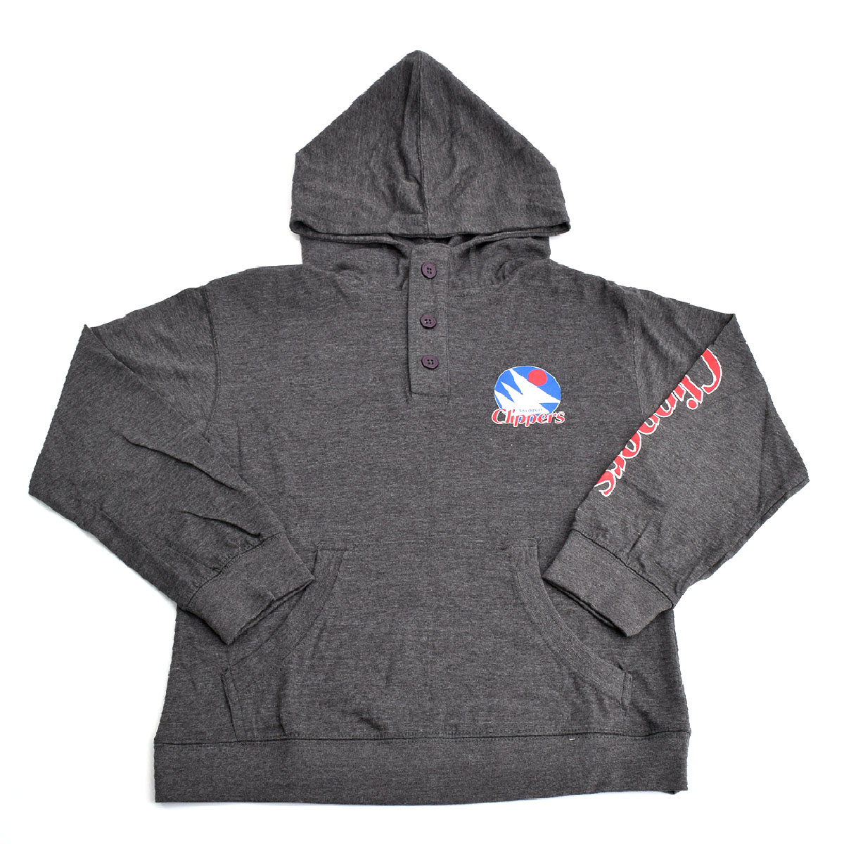 Los Angeles Clippers Youth Button Henley Hoodie (Gray)