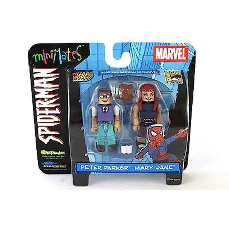 Minimates Spider-Man Peter Parker and Mary Jane 2 pack Mini Figure, San Diego Comic Con Exclusive 2003! By