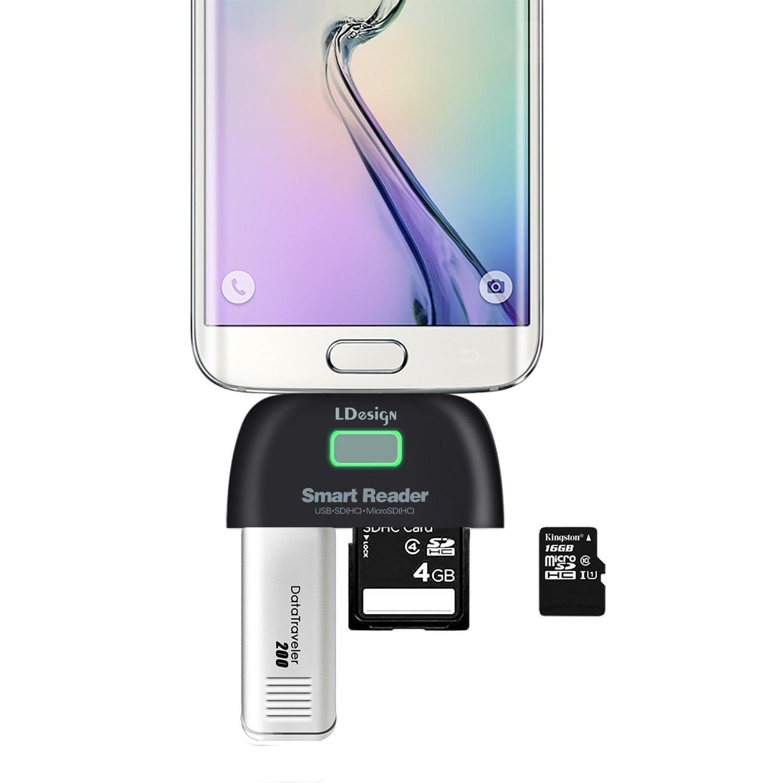Micro Usb Otg Adapter Ldesign 4 In 1 Sd Card Reader Hub 20 Port Sdhc Tf Black