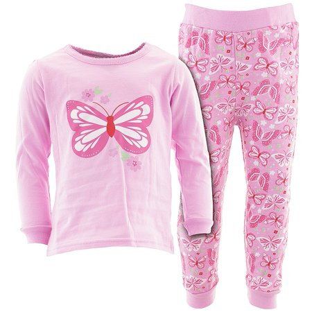 Sweet & Soft Little Girls Pink Butterfly Flower Cotton Pajamas (Flower Girl Pajamas)