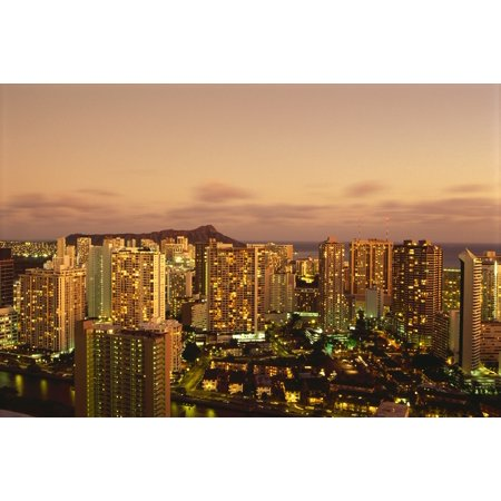 Hawaii Oahu Waikiki Skyline At Twilight Pink Clouds And Golden Hues Diamond Head Background Canvas Art - Carl Shaneff  Design Pics (19 x 12)