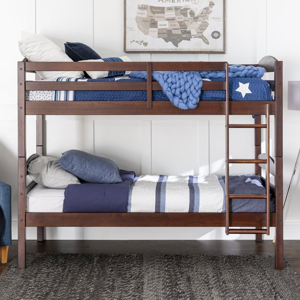 Walker Edison Solid Wood Twin Over Twin Bunk Bed - Espresso