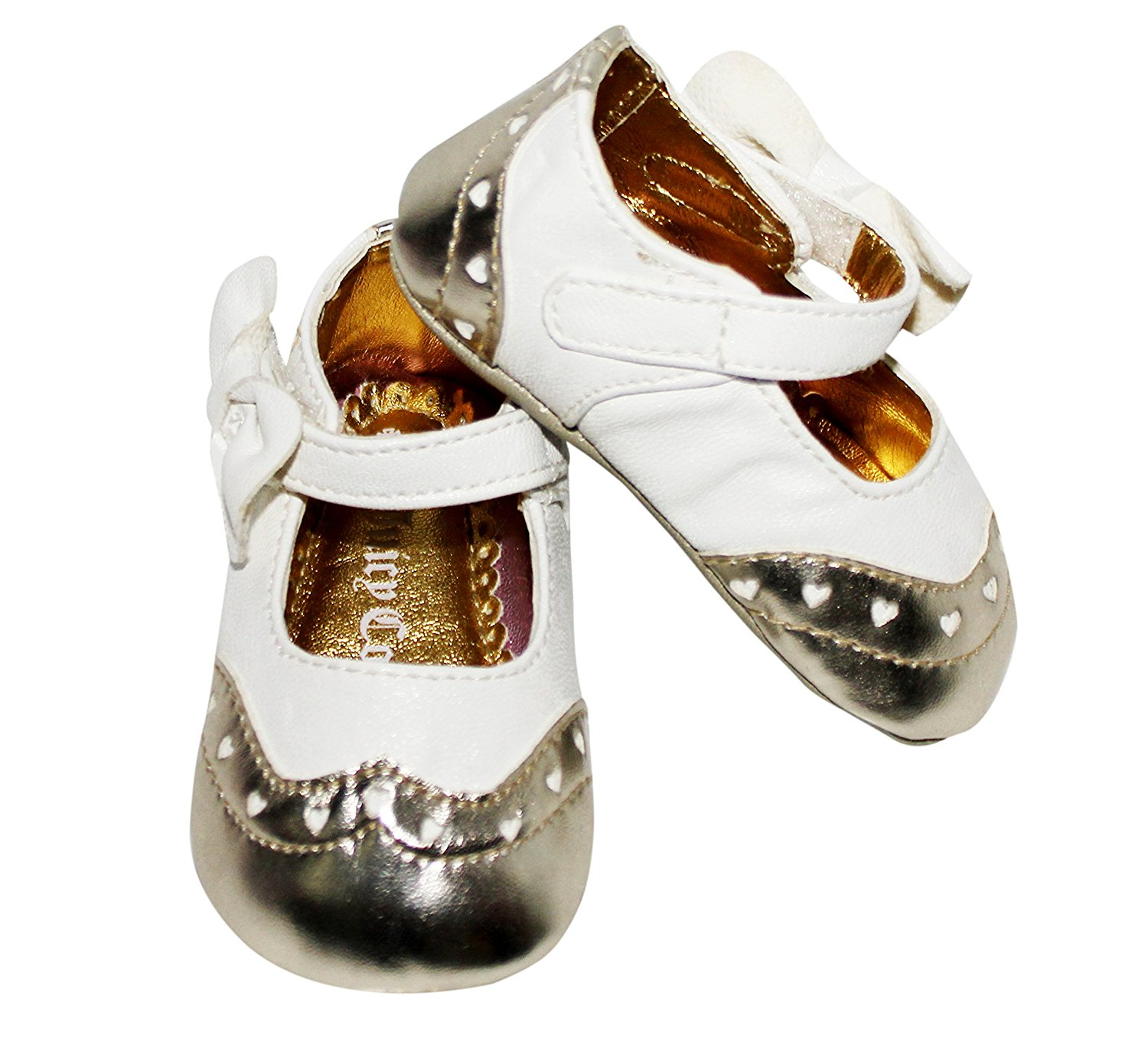 Juicy Couture Baby Girls Shoe White gold with bow 6-9 months by Juicy Couture