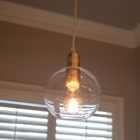 Brushed Brass Clear Glass Pendant