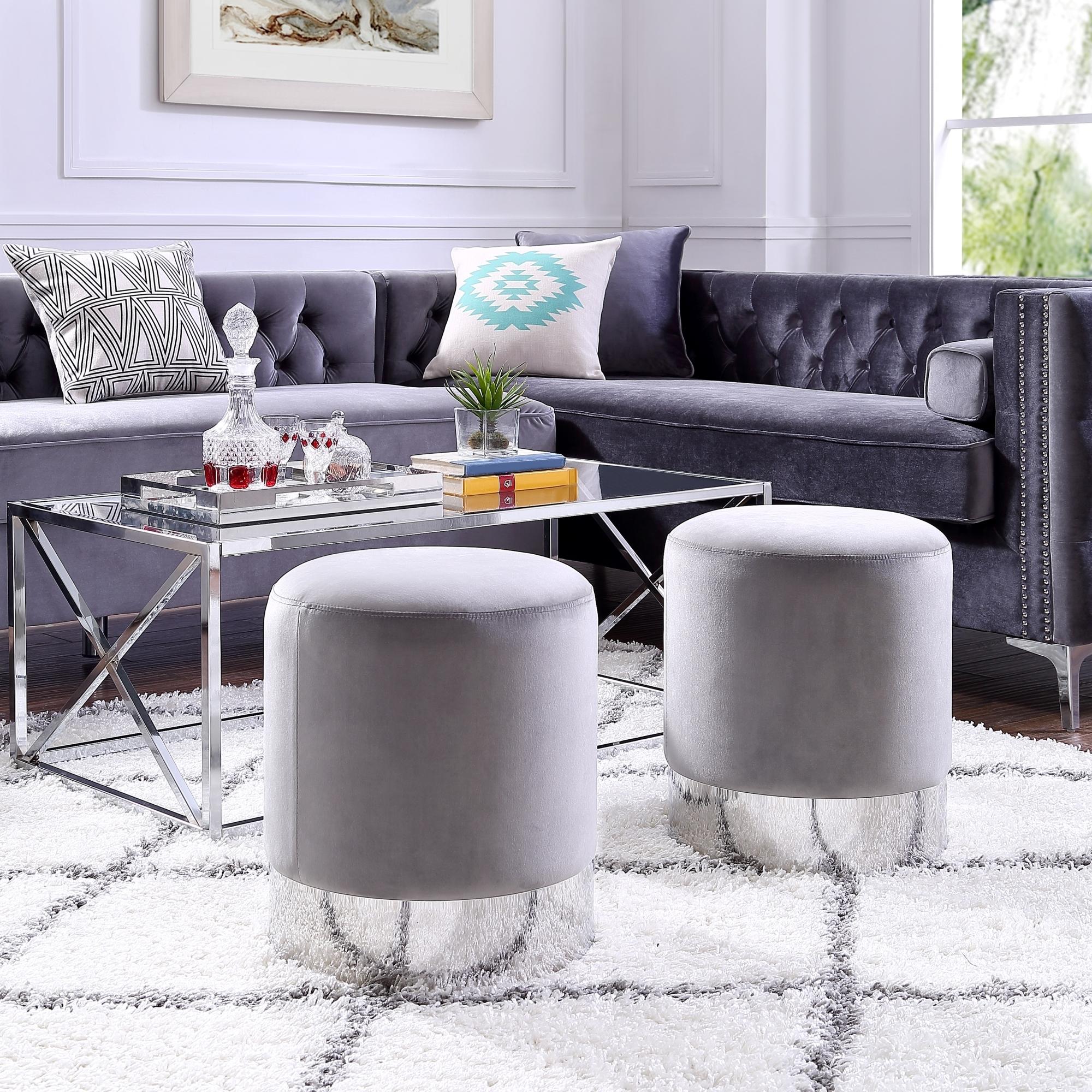 Eleanor Velvet Round Ottoman - Metal Base | Upholstered | Modern | Contemporary | Inspired Home