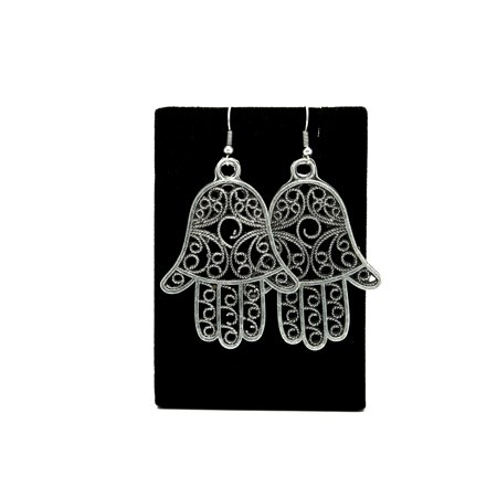 Hand of Fatima Hamsa Antique Silver Plated Earrings with French Style