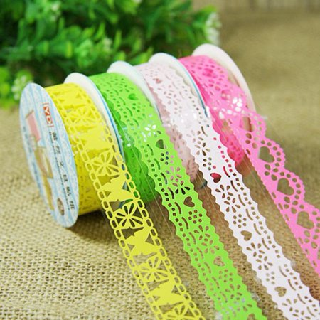 10 PCS Decorative Lace Roll Washi Sticky Paper Masking Adhesive Tape Crafts DIY - Fall Washi Tape