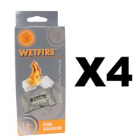 WetFire Tinder All-Weather Fire (4-Pack of 12), Extinguishes instantly By Ultimate Survival Technologies
