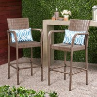 Clevertine Outdoor Wicker Barstools, Set of 2