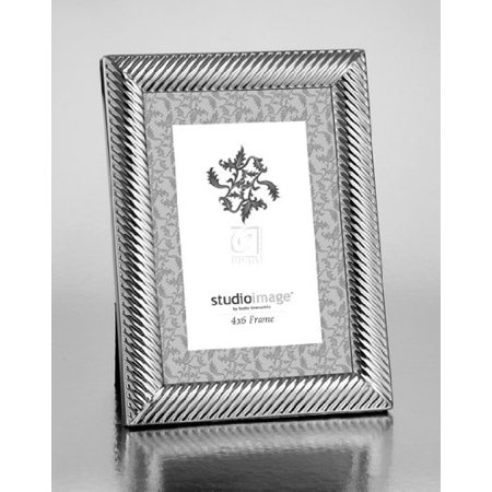 5x7 Silver-plated Diagonal Twist Picture Photo Frame Standing Horizontal or Vertical in Braided Rope Design, Braided frame brings an unmistakable air of.., By Philip Whitney