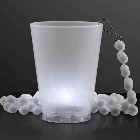 Light Up White Shot Glass on White Beaded Necklaces by - Light Up Shot Glass Necklace