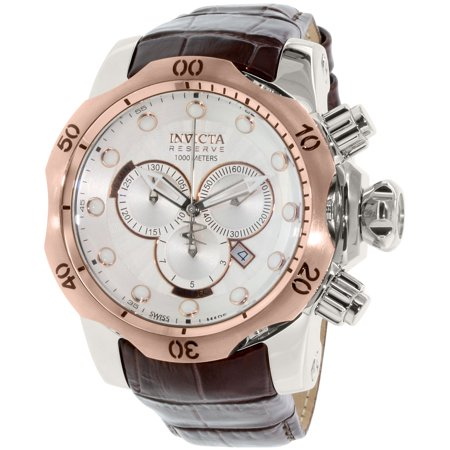- Men's Reserve 0359 Brown Leather Swiss Chronograph Dress Watch