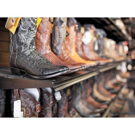 Rows Of Cowboy Boots In A Western Clothing Store Banff Alberta Canada Canvas Art - Ken Gillespie Design Pics (32 x 24)
