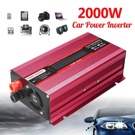 2000W Car Power Inverter  Modified Sine Wave DC 12V/24V To AC 110V Converter Fuse Piece w/Dual Intelligent Cooling Fan System Home Appliance Power Supply Car Accessories