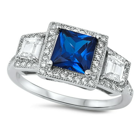 Square Blue Simulated Sapphire Halo Wedding Ring ( Sizes 4 5 6 7 8 9 10 11 ) .925 Sterling Silver Band Rings (Size 5) - Blue Wedding