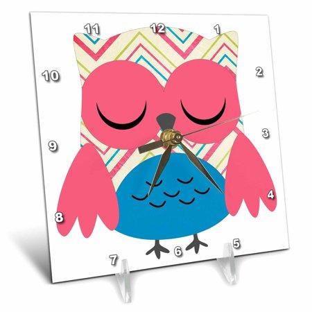 3dRose Cute Pink Chevron Striped Owl, Desk Clock, 6 by 6-inch